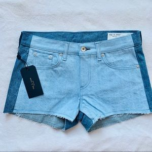 rag & bone cut off denim shorts double blues 27